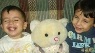 teddy bear, boys, happy, smiling, refugee