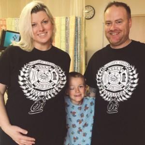From left to right: A pregnant Amanda Azevedo, 32, Vinny Desautels, 7, and Jason Desautels, 37. (Courtesy of Jason Desautels)