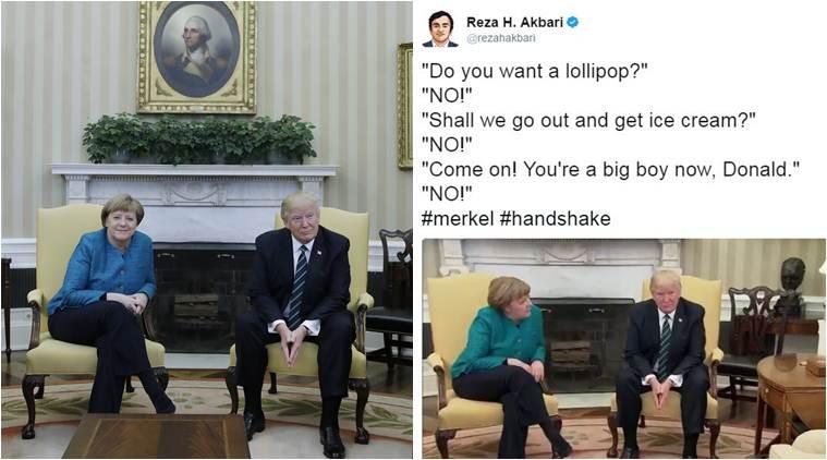 Donald trump's handshake, angela merkel handshake trump, trump handshake joke, trump merket handshake