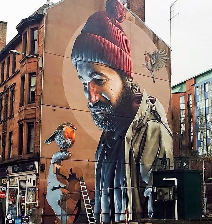 mural street art graffiti bird art artists glasgow inspiration follow antoinespeaks