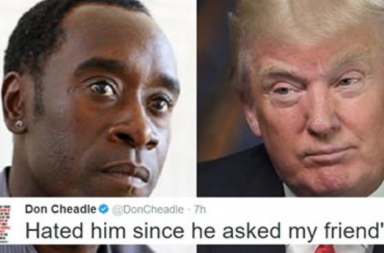Donald trump's racist, donald trump, don cheadle, golf, racist tweet,